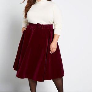 NWT Modcloth Dolled Up Velvet Midi Swing Skirt  22